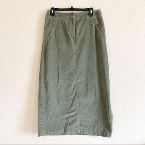 J.Jill | Olive Green Long Length Corduroy Skirt 8